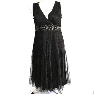 JESSICA HOWARD Black Sleeveless A-Line Mesh Dress
